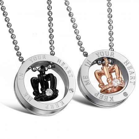 """Classic Crown """"Keep Me In Your Heart"""" Lover Necklaces In Titanium Steel"""