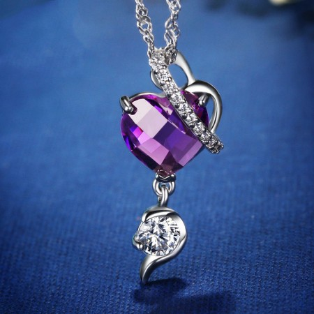 Classic 925 Sterling Silver Inlaid Purple Heart-Shaped CZ Necklace