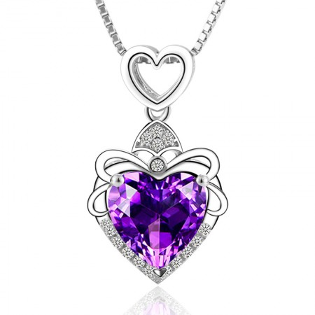Perfect Design 925 Silver Inlaid Natural Amethyst Necklace