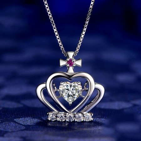 """""""Just For You"""" 925 Silver Crown Pendant Heart Shaped Necklace"""