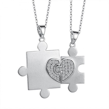 925 Silver Fashion Creative Love Puzzle Lovers Necklaces