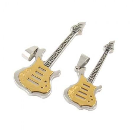 Classic Hot Sale Guitar Modeling Couple Titanium Necklaces