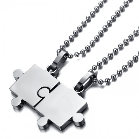 High Brightness Stainless Steel Love Puzzle Lovers Necklaces