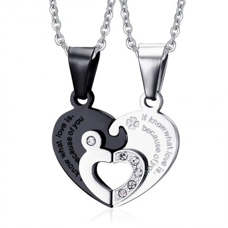 Korean Fashion New Love Puzzle Titanium Steel Lovers Necklaces