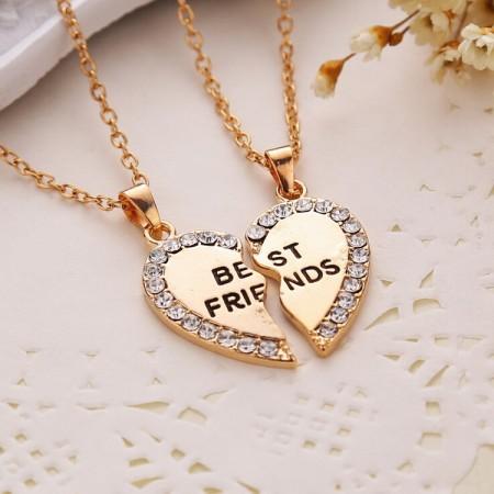 Peach Heart Diamond Friends Necklace