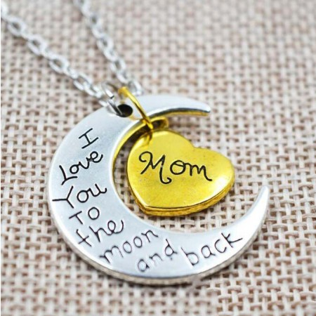 Family Members Moon Heart Necklace