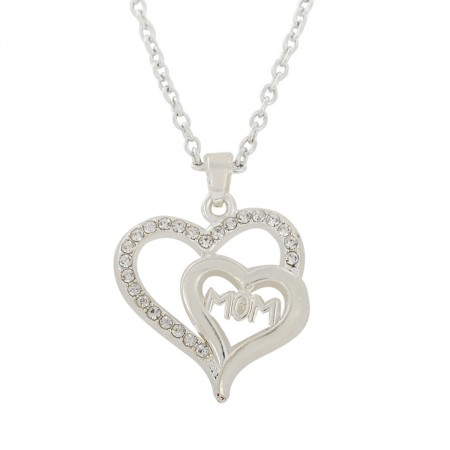 Double Heart Mom'S Necklace