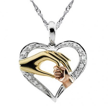 Mother'S Hand Heart-Shaped Necklace