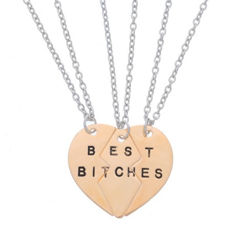 Best Bitches Three Heart Necklace