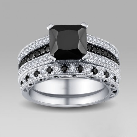 Black and White Cubic Zirconia 925 Sterling Silver Women's Wedding Ring Set/Bridal Set
