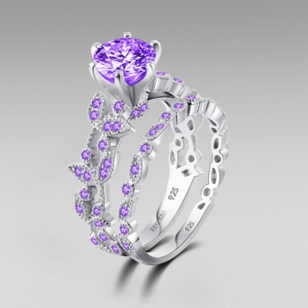 925 Sterling Silver Purple Lab-created Diamond Women's Leaf Style Ring Set