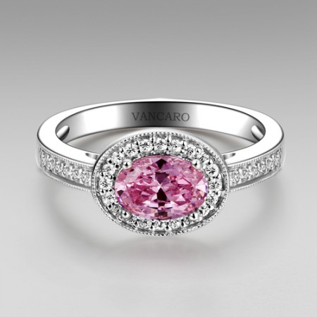 Oval Cut Pink Stone 925 Sterling Silver Ring for Women