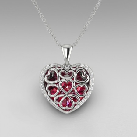 925 Sterling Silver Cut-out Design Heart Ruby ' I Love You' Engraved Women's Necklace