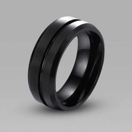 Unique Black and Simple Style Tungsten Steel Men
