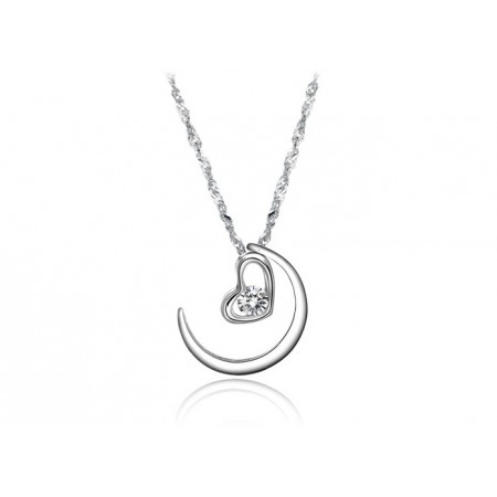 Crescent moon Platinum Plated Necklace For Women Affordable Lady Pendant