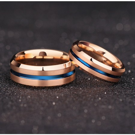 Rose Gold Tungsten Promise Rings  Wedding Band Rings  Couple Rings
