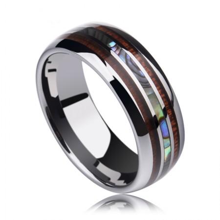 Pearl Sea Shell Inlay Tungsten Rings Natural Acacia Koa Wood Inlay Comfort Fit
