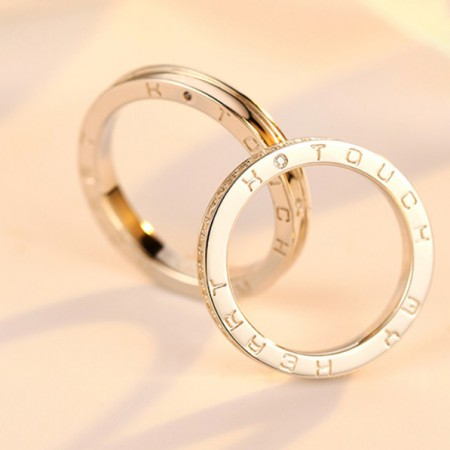 Touch My Heart Gold-Plated Sterling Silver Lovers Couple Rings