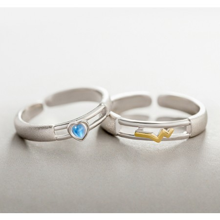 New Heartbeat Simple Personality Men and Women Couples Ring