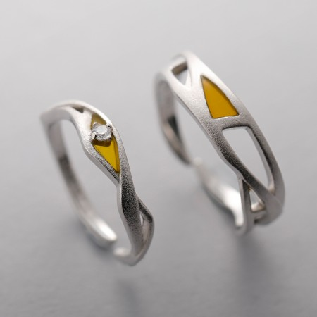 Unique Design Yellow 925 Sterling Silver Promise Ring for Couples (Price for a Pair)