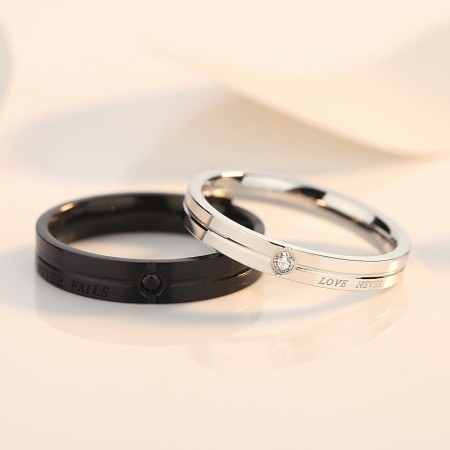"""LOVE NEVER FAILS"" Promise Rings For Couples (Price For a Pair)"