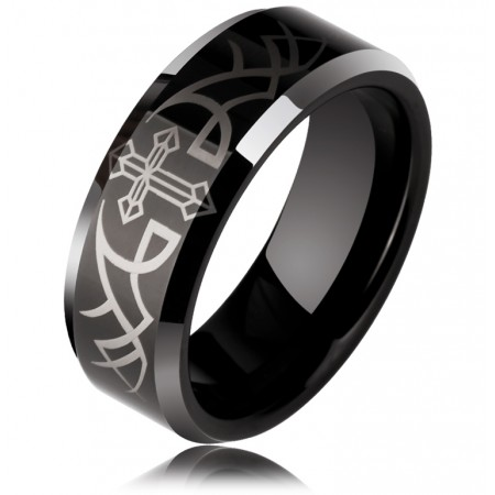 Noble Luxurious Angel Wings Black Cross Tungsten Couple Rings (Price For a Pair)