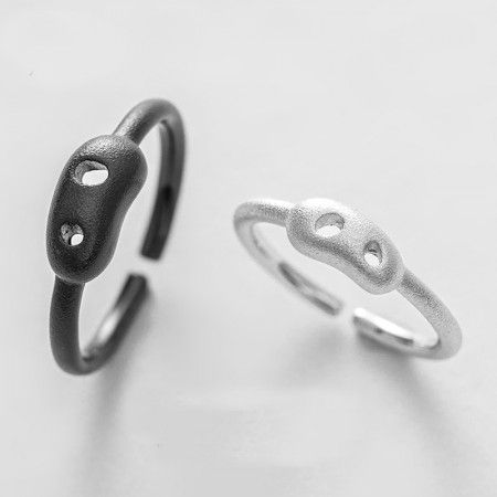 Two Pig S925 Sterling Silver Opening Lovers Couple Rings