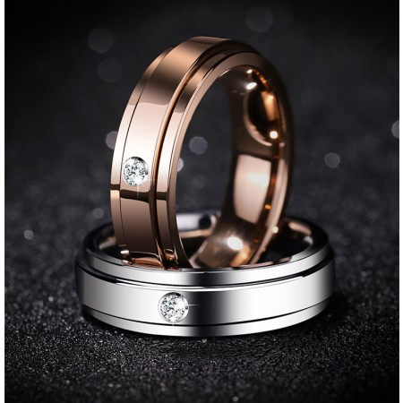 High Quality Rose Gold and Sliver Rotatable Tungsten Mosanite Promise/Wedding Rings For Men