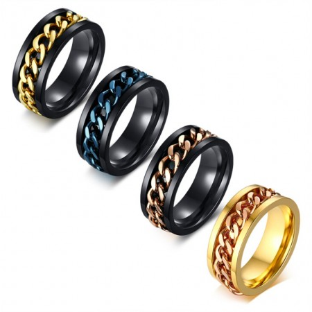Luxury and Unique Design Titanium With Gold Plated Men's Ring