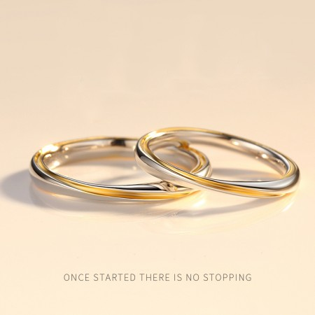New Fashion 925 Sterling Silver Adjustable Gold Line Mobius Promise Rings For Lovers