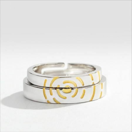 Fashionable Heart Ripples Original Design Sterling Silver Lovers Couple Rings