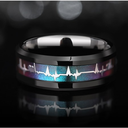High Quality Heartbeat Temperature Color Change Tungsten Promise/Wedding Rings For Men