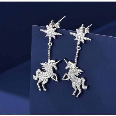 2019 New Unicorn Earrings Sterling Silver One Pair Earrings for Girls Teens Boys Students Women