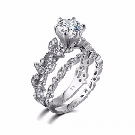 Leaf Style Six Claw White Round Diamond Sterling Silver Lady's Ring