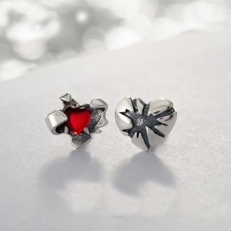 Open Heart S925 Sterling Silver One Pair Earrings for Girls Teens Boys Students Women