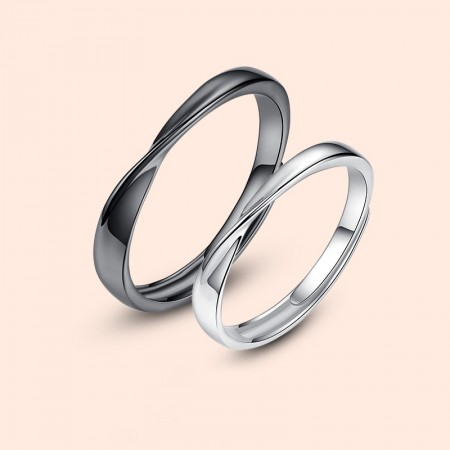Black & Silver Mobius Design 925 Sterling Silver Adjustable Promise Rings For Lovers