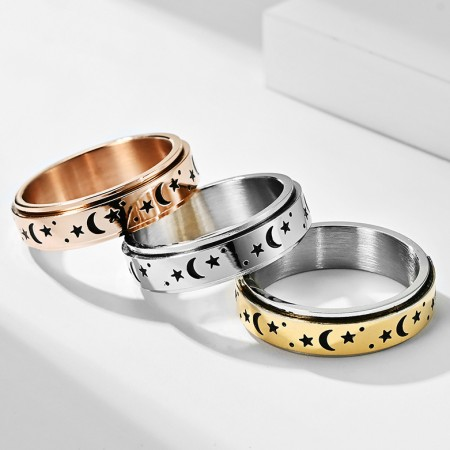 Titanium Stainless Steel Spinner Rings Moon and Star Fidget Ring Stress Relieving Anxiety Ring Engagement Wedding Promise Band for Women Men Size 5-12