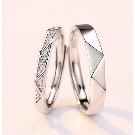 I Love  You More Than Once 925 Sterling Silver Original Design Lovers Couple Opening Rings
