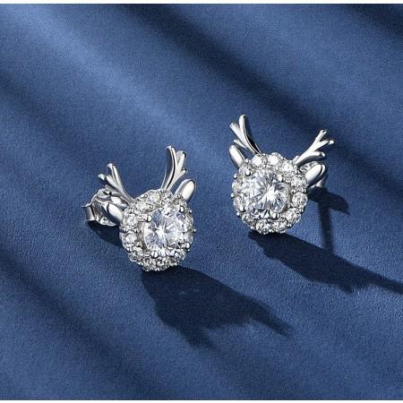 Little elk Earrings Sterling Silver One Pair Earrings for Girls Teens Boys Students Women