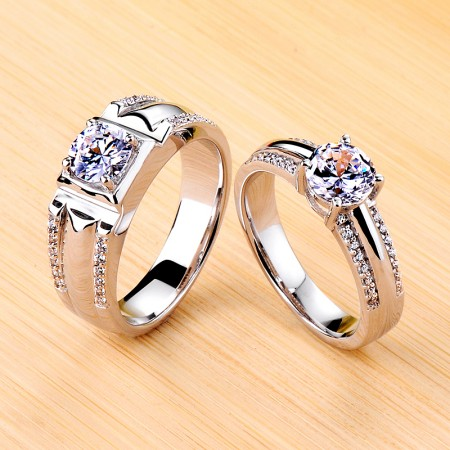 925 Silver Plated Platinum 0.8ct 1.0ct Simulated Diamond Promise/Wedding/Engagement Couple Ring