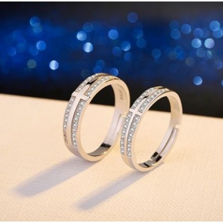 Cross Design Sterling Silver Lovers Couple Rings With Open Loop