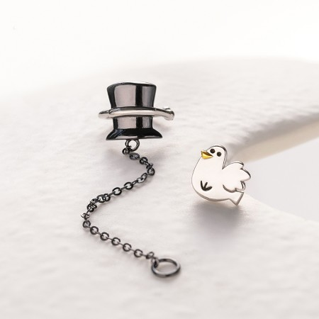 Magic Hat and White Dove S925 Sterling Silver One Pair Earrings for Girls Teens Boys Students Women