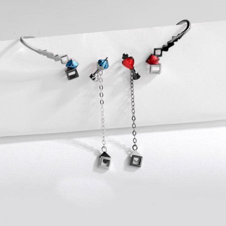 Chess S925 Sterling Silver Red Or Blue One Pair Earrings for Girls Teens Boys Students Women