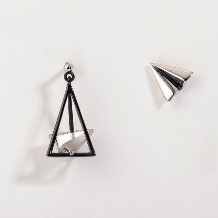 Paper plane S925 Sterling Silver One Pair Earrings for Girls Teens Boys Students Women