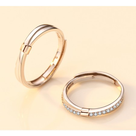 Make A Match Between Hair And Ring 925 Sterling Silver Original Design Lovers Couple Opening Rings