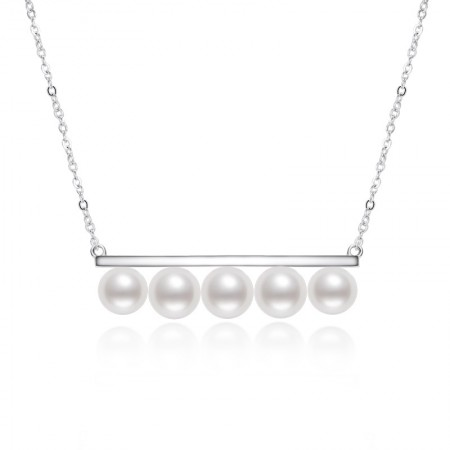Korean Version Of Sterling Silver Balance Beam Five Beads 5.5-6mm Round White Bright Pearl Necklace