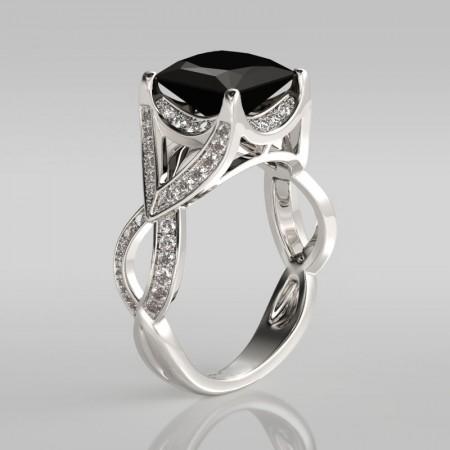 2.30CT Princess Cut Black Diamond Rhodium Plated Sterling Silver Engagement Ring