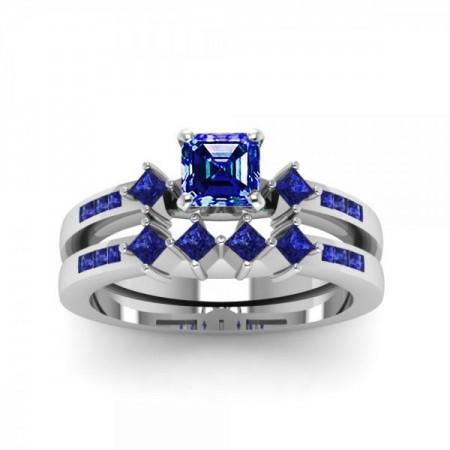Pure Asscher Cut Sapphire Rhodium Plated 925 Sterling Silver Women's Bridal Ring Set