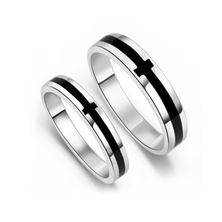925 Sterling Silver With White Gold Plated Black Stripe His and Hers Couple Rings