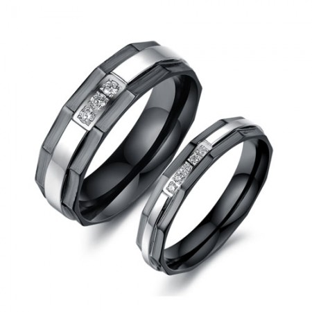 Black and Silver Stainless Steel with Cubic Zirconia Couple Rings